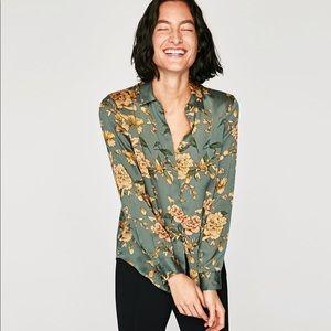 de6028e88dd1 Zara Tops | Silky Floral Blouse | Poshmark